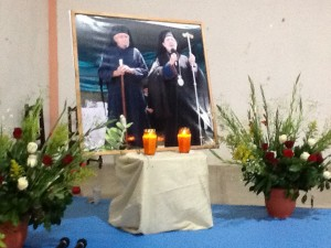 Hall in Tziscao, Mexico adorned with photos of  Fr. Andres