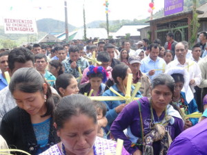 The Mayan faithful celebrate Palm Sunday with Palm Cross in hand