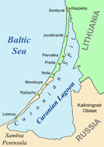 """By H Padleckas - H Padleckas made this image file on July 7-8, 2005 especially for use in articles on """"Curonian Spit"""" and """"Curonian Lagoon"""" in the English Wikipedia by modifying the existing image file Image:KursiuNerija.png from the Lithuanian Wikipedia created by Knutux. H Padleckas 8 July 2005 23:24 (UTC), CC BY-SA 3.0, https://commons.wikimedia.org/w/index.php?curid=216645"""