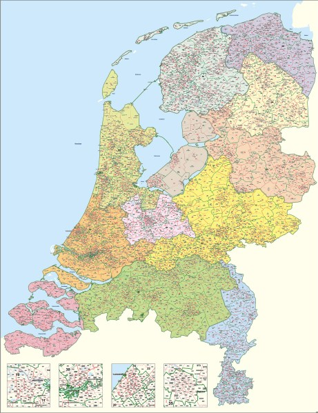 Digital Postcode Map of The Netherlands 1 2 3 digit 1394   The World     Download sample