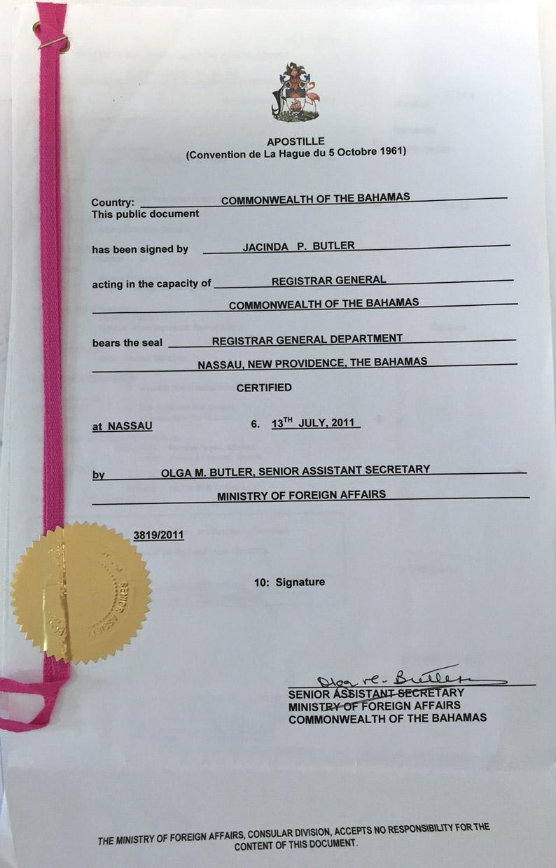 apostilla de la haya Casarse en el extranjero: Nuestra boda en Bahamas Casarse en el extranjero: Nuestra boda en Bahamas docs1