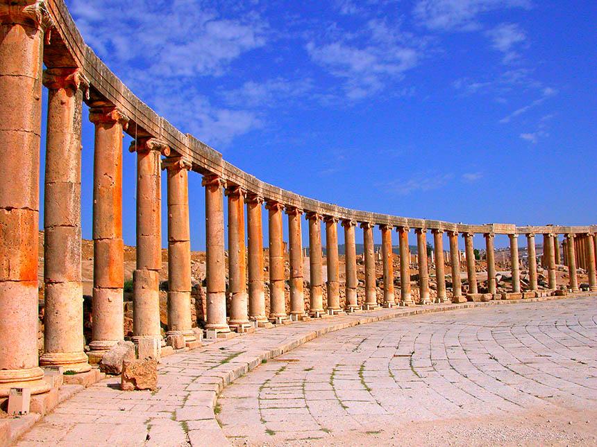 jerash, la roma de jordania - portada Oval plaza en Jerash - Jerash, la Roma de Jordania