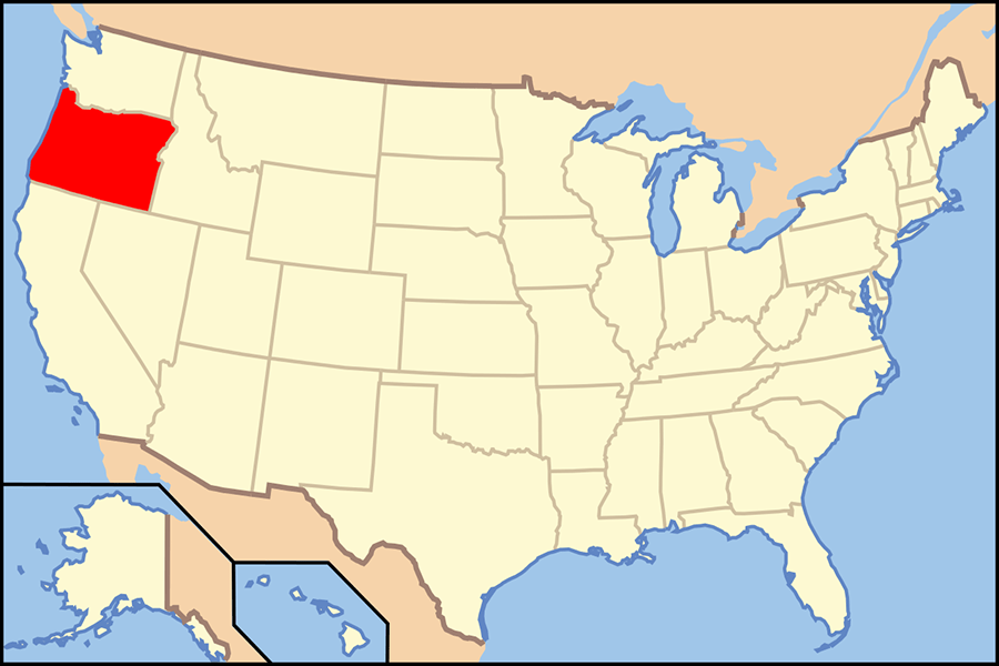 Map+of+United+States+with+Oregon+highlighted.