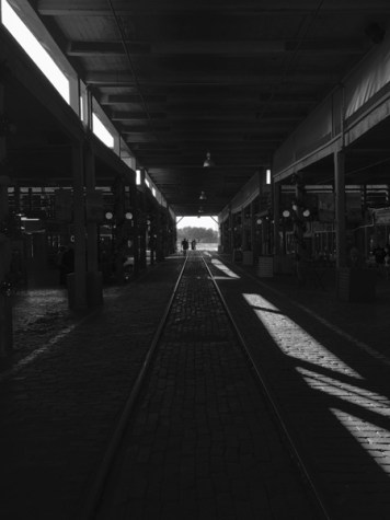 Stockyards in Black and White
