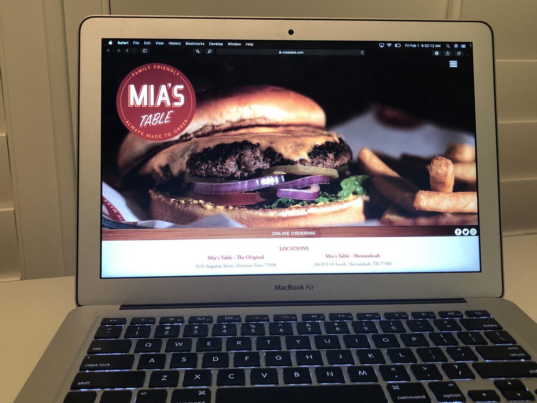 Mia's Table, located in Houston, website.