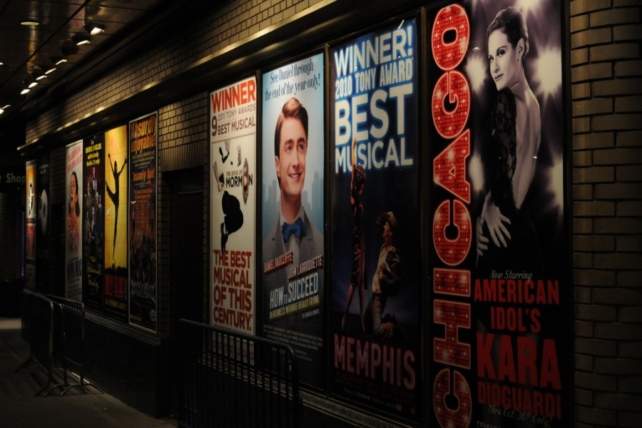Some+of+the+most+famous+Broadway+musical+posters+advertising+underground.+