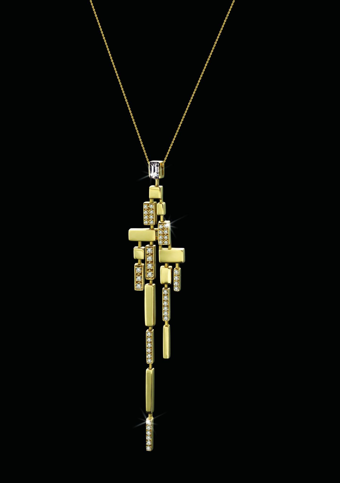 Stefano Canturi Cubist Pendant Gold Diamond Necklace