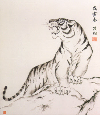 The powerful white tiger in a Japanese drawing