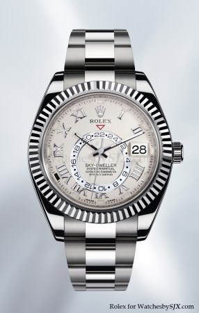 rolex white gold watch dual time zone watch