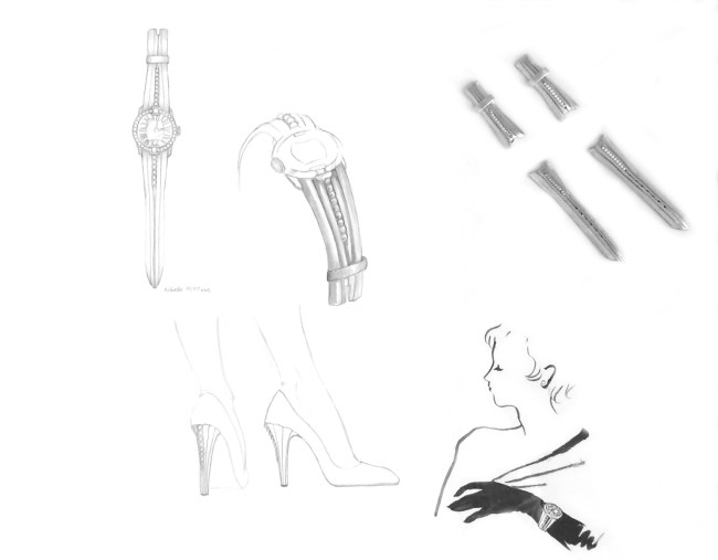 Massaro's sketches for the leather and pearl strap, right, inspired by Lana Turner.