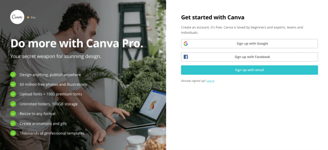 sign up with Canva Pro for free