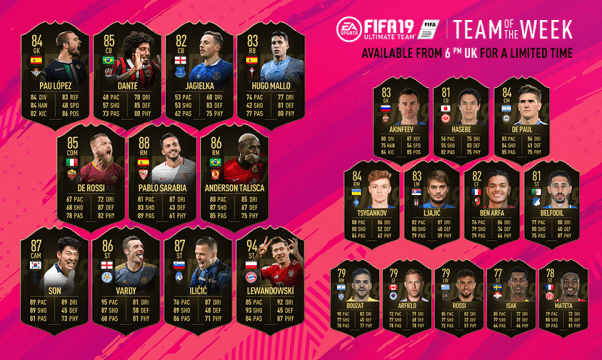 FIFA 19 Ultimate Team Team of the Week #30