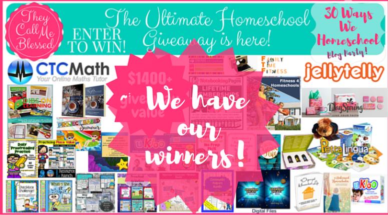 homeschool Giveaway winners