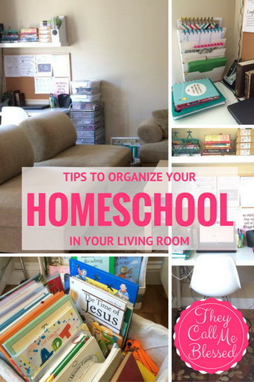 #4 Top Homeschool Posts in 2016: ORGANIZE YOUR HOMESCHOOL space in your living room