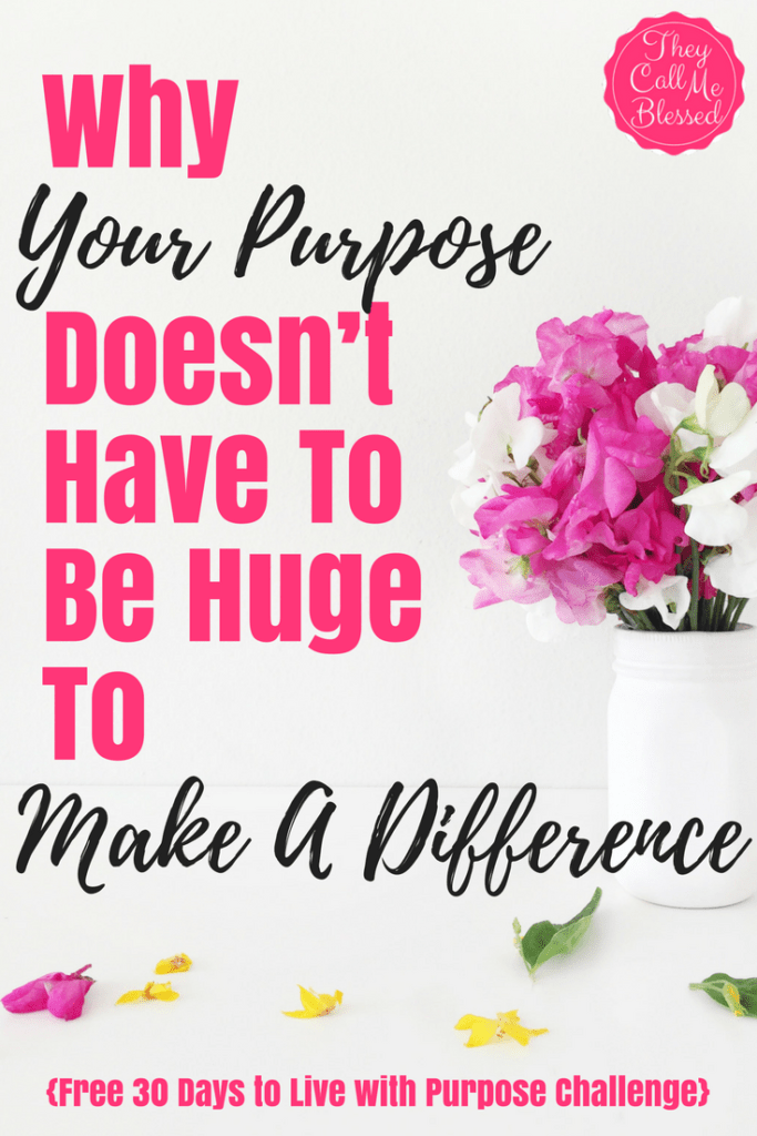 Why Your Purpose Doesn't Have to Be Huge to Make A Difference - 30 Days to A Life With Purpose