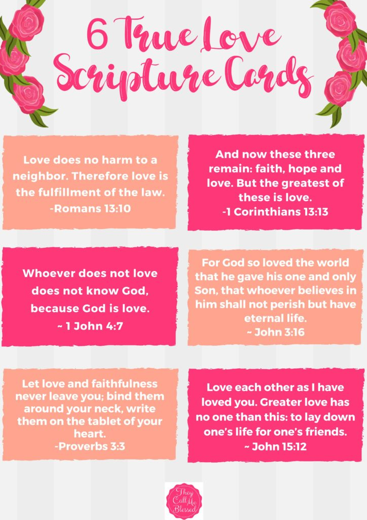 Teach Kids About True Love: Free 6 True Love Scripture Cards Printable