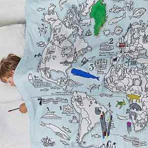 Color Your Own Map Duvet