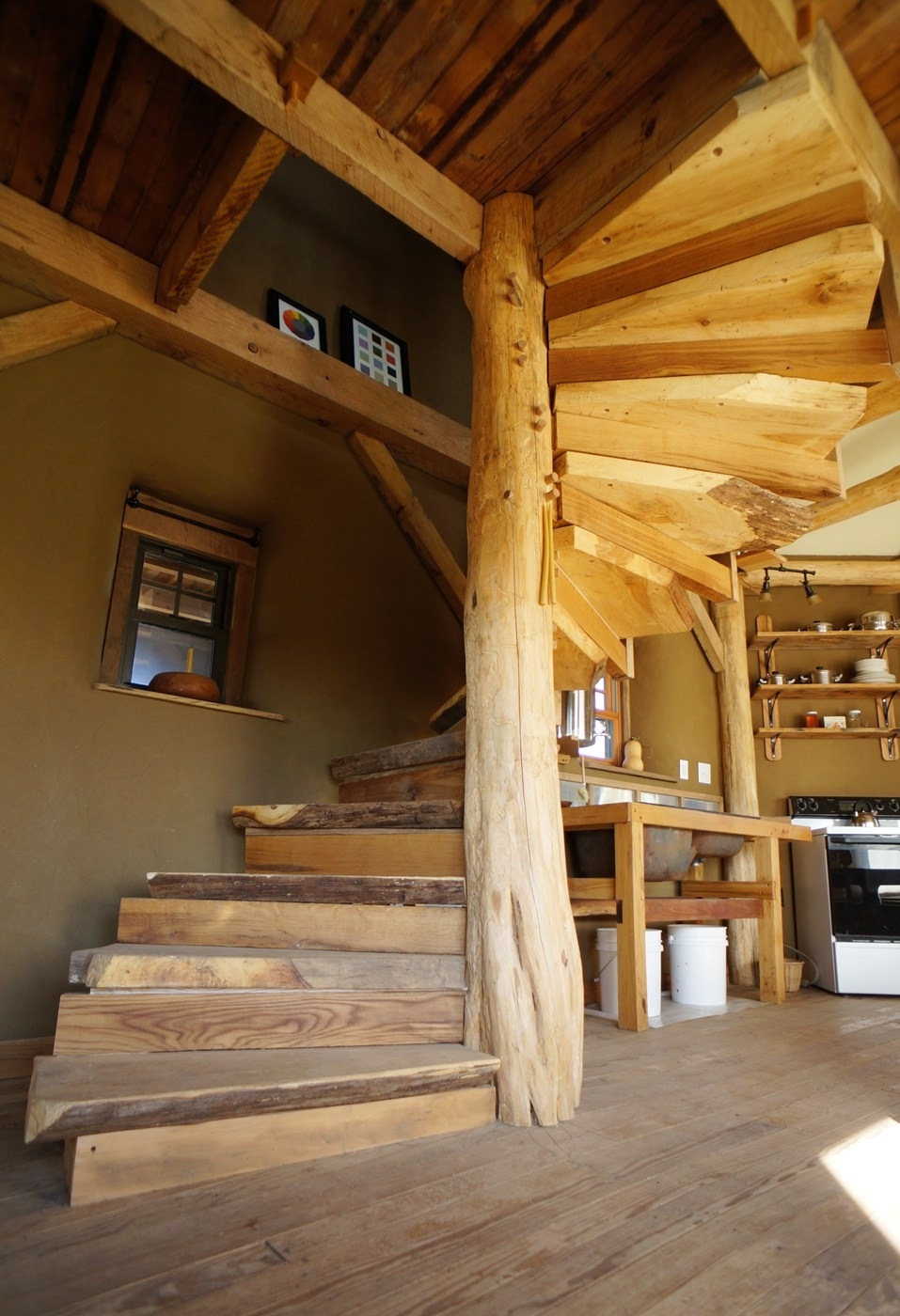 Diy Wooden Spiral Staircase Design How We Built It The Year Of Mud | Building A Spiral Staircase | Spiral Stairs | Handrail | Old Fashioned | Wood | Double Spiral