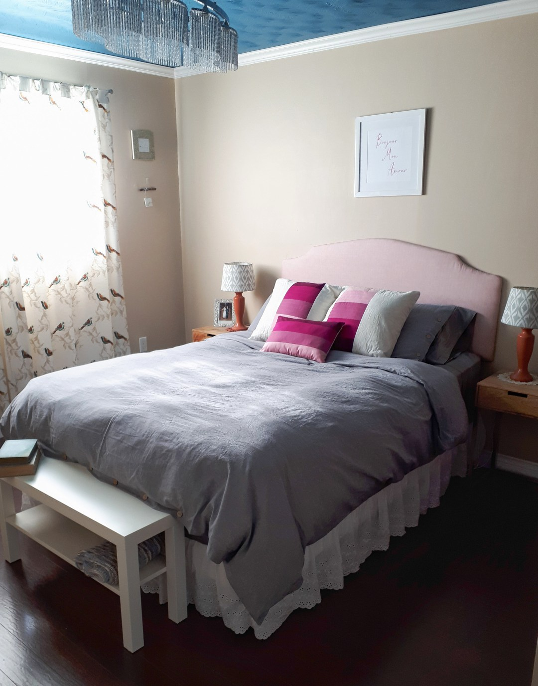 Pretty pastel master bedroom refresh on a budget. With a little creativity and planning you can have an affordable and super cozy bedroom!