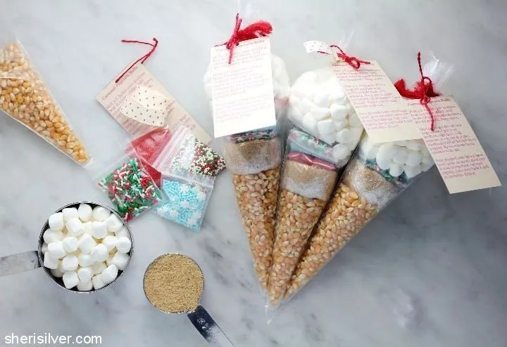 Popcorn ball kits, DIY Christmas gift ideas for kids
