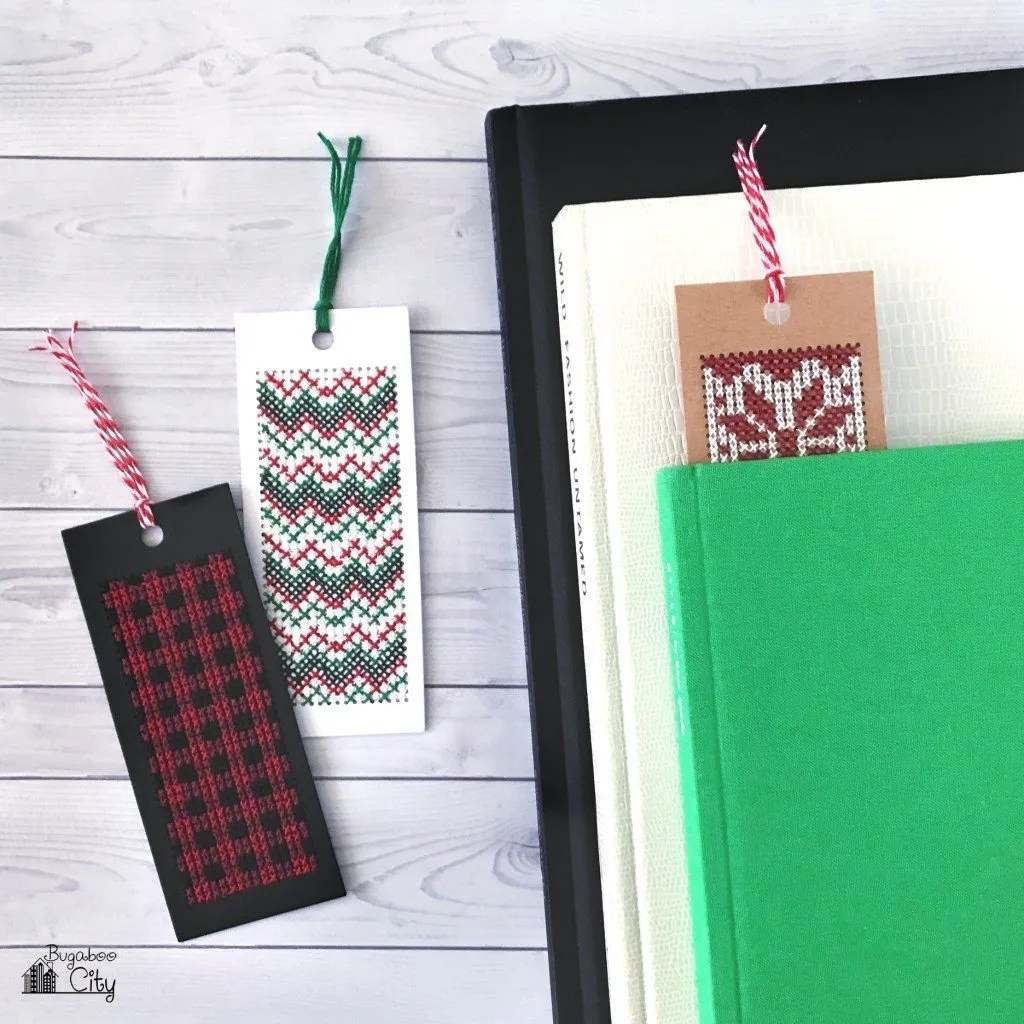 Stocker stuffer ideas Cross Stitch Christmas bookmarks