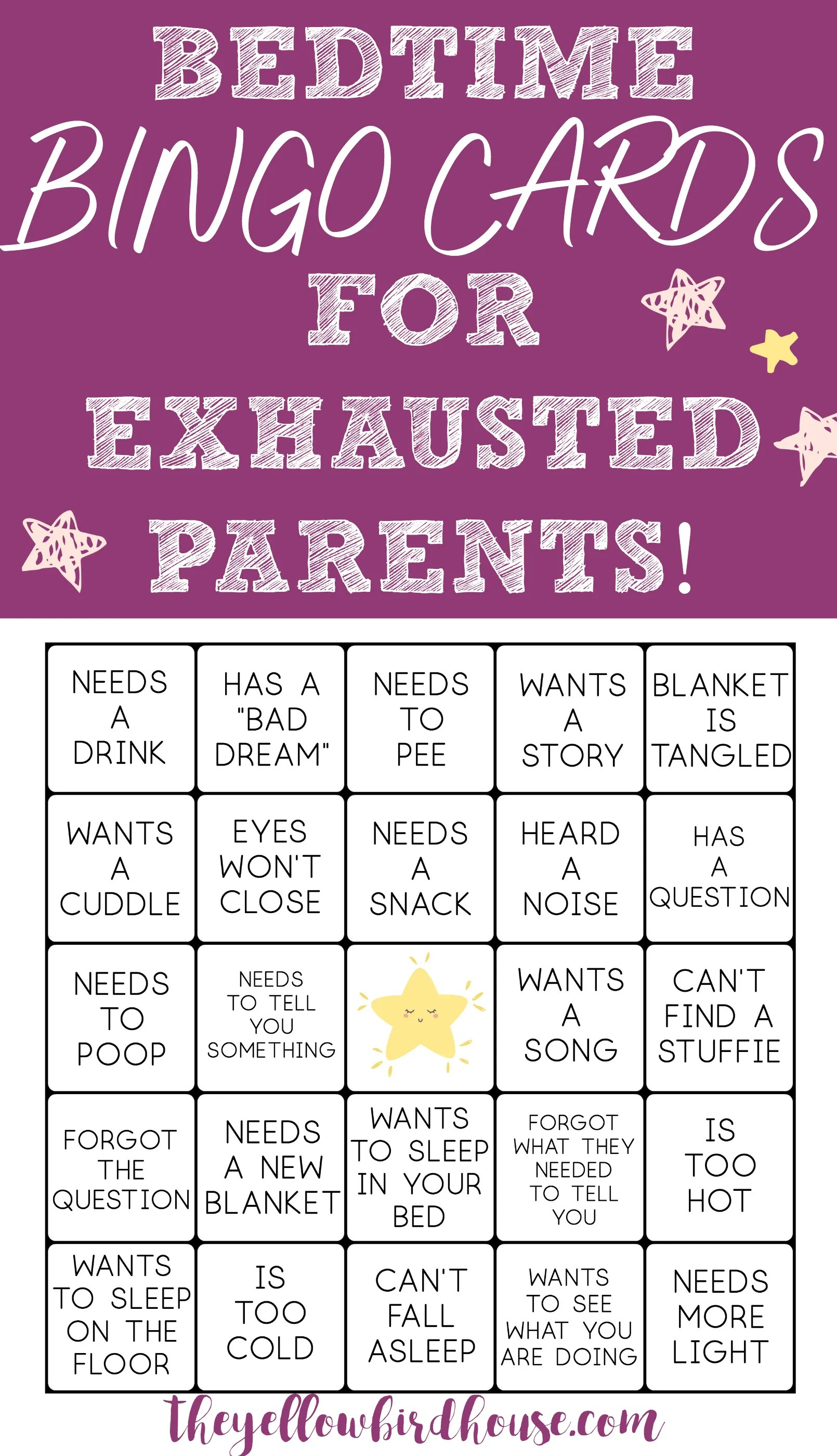 Play a game of Toddler Bedtime Bingo with your spouse. All the reasons why my kid is out of bed. Have fun with tiresome bedtimes by playing bedtime bingo!