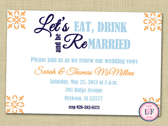 Remarried Invitation For Vow Renewal