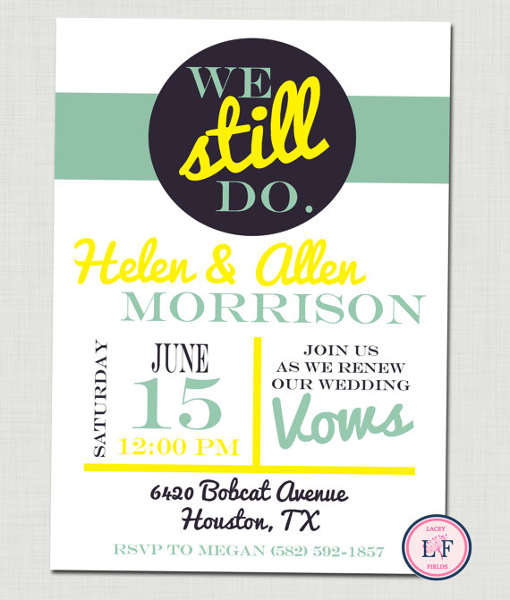 Mint Green And Yellow Vow Renewal Invitation