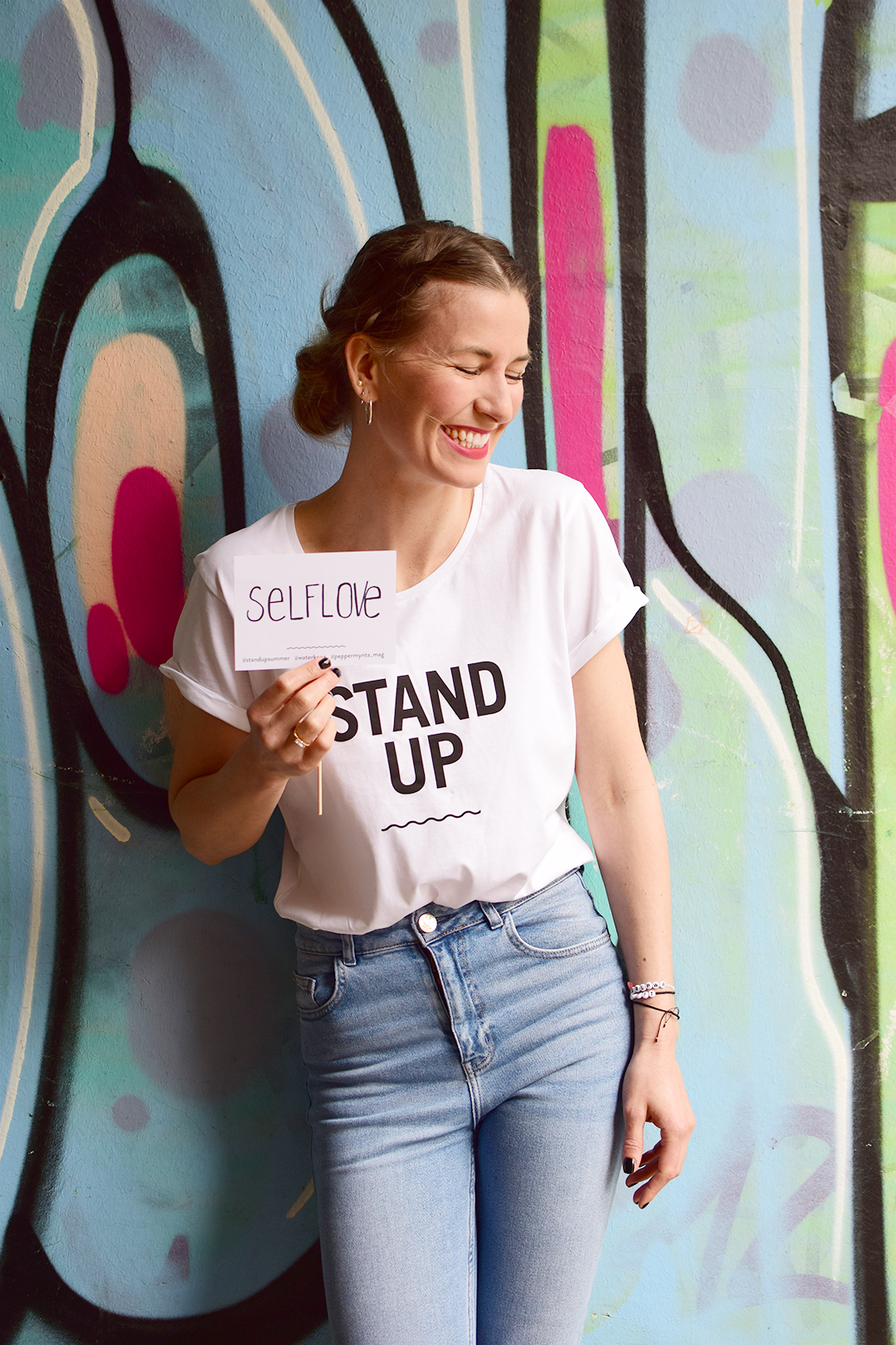 STAND UP Statement T-Shirt Story Selflove Selbstliebe Peppermynta Waterkoog Kollaboration Summer 2017