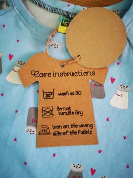 Handmade T-shirt Tag with care instructions