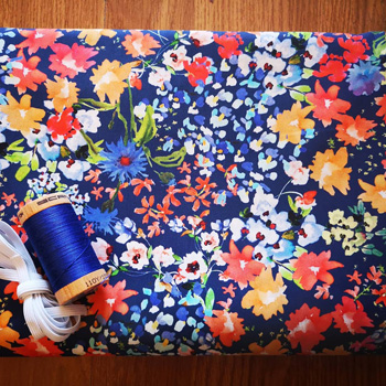 Lady McElroy Bright Floral Print Cotton Lawn With Blue Organic Thread And White Elastic