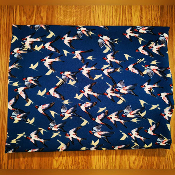 Navy Bubble Crepe Fabric with Swallow Birds