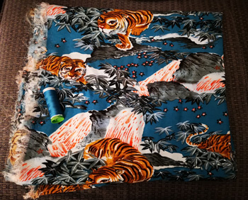 Tiger and Water With Mountain Print Viscose By Fabric Godmother With Matching Thread