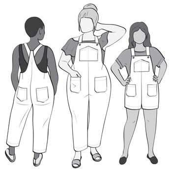 Line Drawing of The Yanta Overalls by Helens Closet