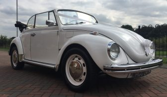 1970 White Cabriolet Vintage Beetle - Front Right -Top Down