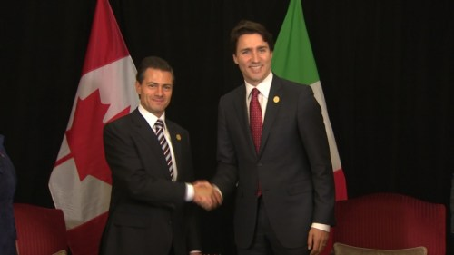 Prime Minister Justin Trudeau, right, met with Mexican President Enrique Pena Nieto during a bilateral meeting at the G20 summit in Antalya, Turkey, on Sunday. (Photo: CBC)