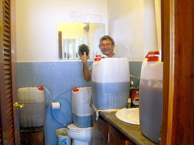 Using the guest bathroom as fermenting room.