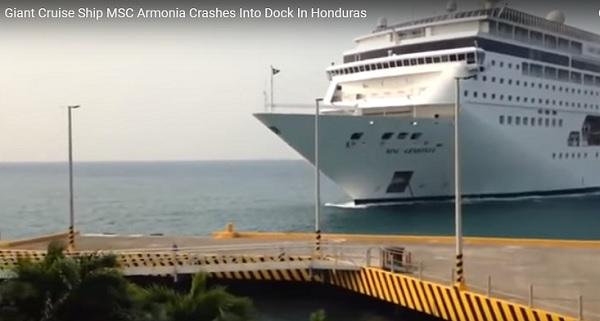 Giant Cruise Ship Smashes Into Dock In Honduras Video
