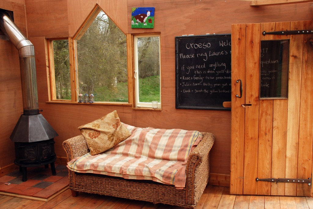 inside the communal cabin at the yurt farm