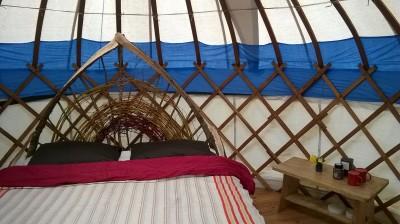 new bed in the mini yurt