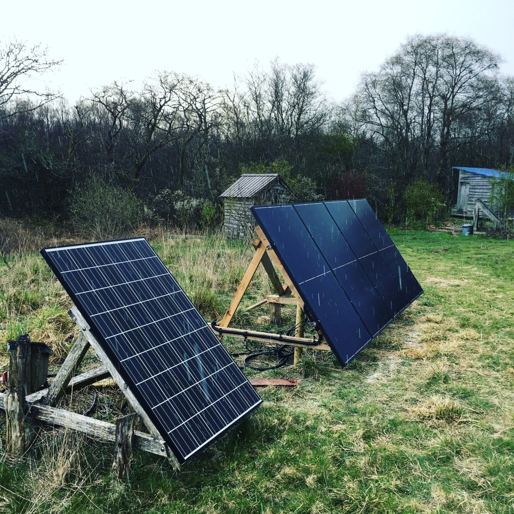 New solar panels in the snow