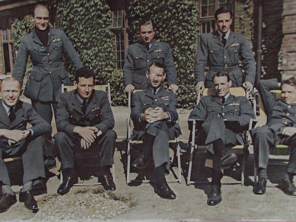 """From left, standing: P/Os HC Upton, AEA van den Hove d'Éstsenrijk (Belgium), and David Gorrie; seated, from left, P/Os Frank Carey (adjutant) [Signatory 27], F/L J.I. Kilmartin [Signatory 35], S/L George Lott [Signatory 11] [who lost an eye in combat on 9 July 1940], F/L RC Reynell and S/L CB Hull DFC (South African)."" Just three hours after this photograph of eight Hurricane pilots from 43 Squadron, 'relaxing' outside the Officer's Mess at RAF Tangmere, was taken, on 7 September 1940 – seven days before Battle of Britain Day – two of them, the Australian Richard Reynell and the South African Caesar Hull – were killed in action. Van Den Hove was in turn lost on the Battle of Britain day itself, and David Gorrie the following April."