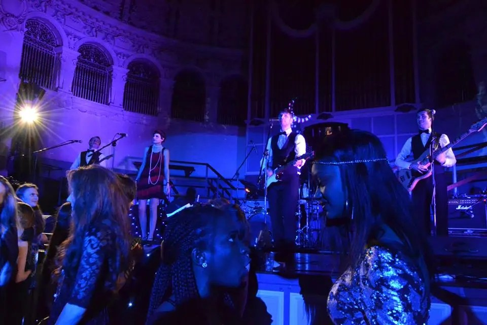 The Zoots performing at the Oxford Brookes university party bal