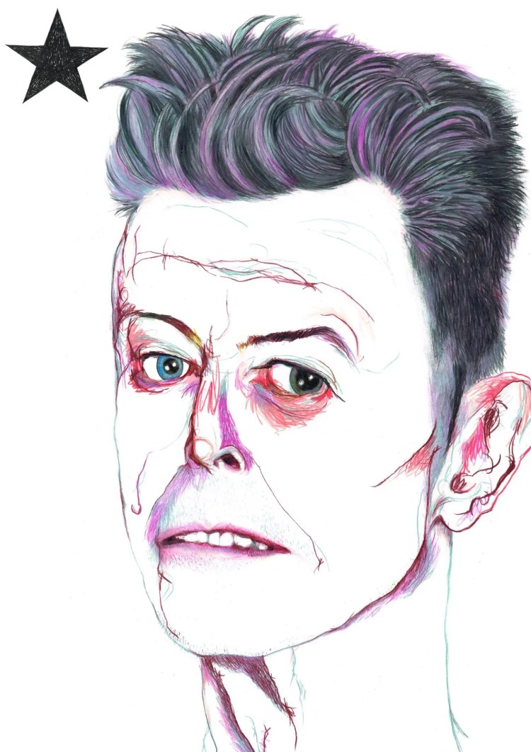 Illustration of David Bowie by Chris Nash, Nash draws, Nash illustration, brilliant Bowie illustration