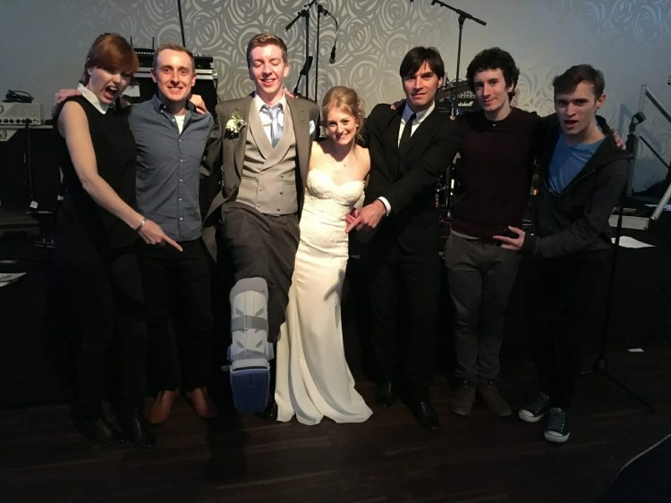 The Zoots, band with bride and groom, Lizzie and Will wedding, The Zoots band, Band in Cheshire, Band for hire, Party band,