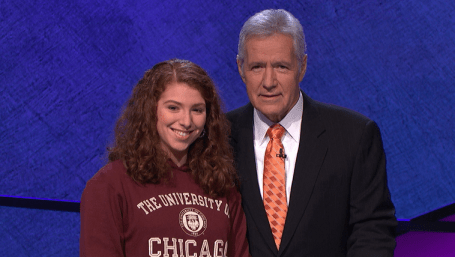 Laurie with Jeopardy! host Alex Trebek.