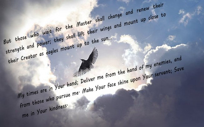 Psalms 31 on bird-spreading-its-wings-to-fly-to-heaven-trough-dramatic-cloudscape