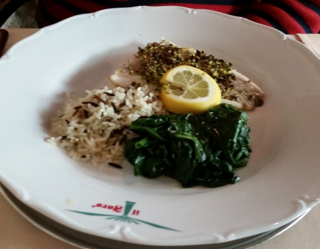 Pistachio crusted fish, wild rice and spinach