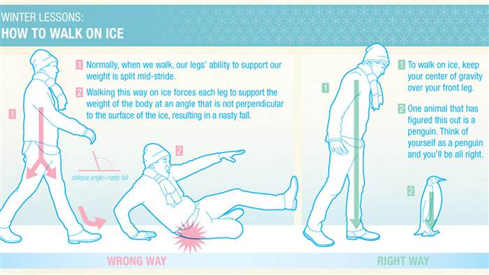 How to walk like a penguin on ice