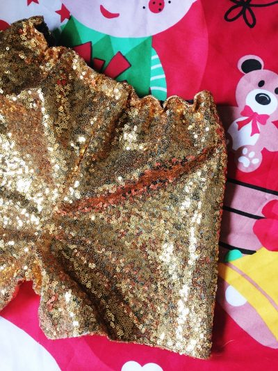 Super festive gold sequin disco shorts!